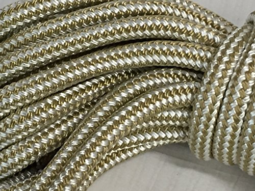 5/8 Inch by 50 Feet Gold Double Braid Nylon Rope