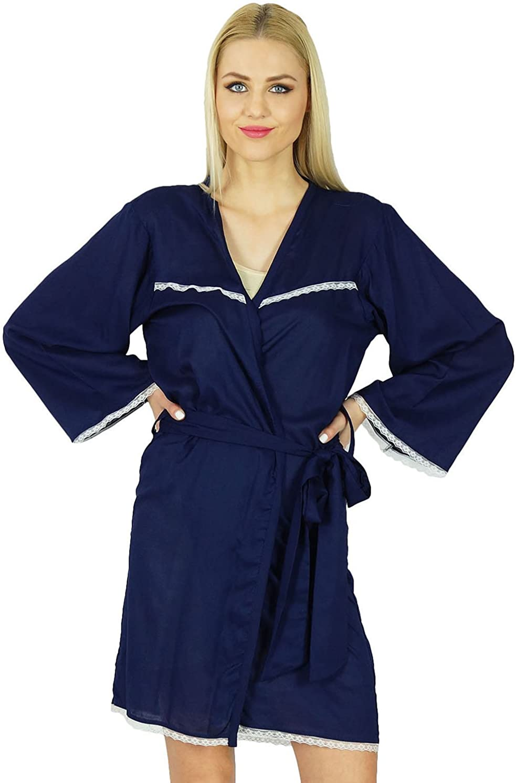 Bimba Women Getting Ready Bridesmaid Robes Blue Rayon Short Custom Robe