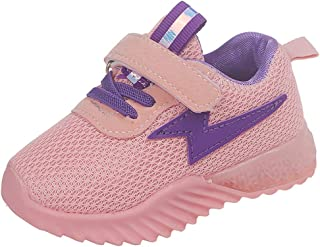 Sneakers Toddler Trainers Children's Shoes with Lights for Kids Non-Slip Pure Color, Low Heel Breathable Knitting Shoes Pink, FULLSUNNY
