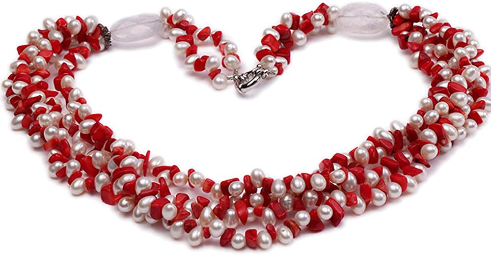 JYX Pearl Necklace Four-Strand 6-7mm White Freshwater Pearl and Red Coral Chips Necklace for Women 22
