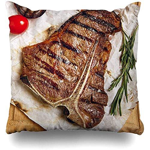 Throw Pillow Case 45x45 cm Gourmet Grill Tenderloin Ingredients Restaurant Nutrition Tomato Steak Menu Tbone Food Angus Drink Cushion Cover