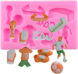 1pc Football Player Cloth Shoes Soccer Silicone Mold for DIY Cupcake Cake Topper Decor Handmade Ice Cream Gum Paste Jelly Shots Desserts Candy Pudding Soap Mould Chocolate Fondant Mold