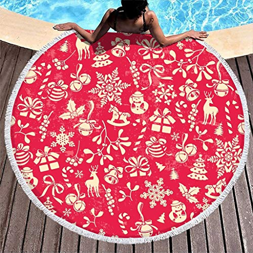 Generic Branded Round Tablecloth, Christmas Tree, Universal, Easy to Clean, Pattern, Travel Towel for Yoga Meditation, White, 150 cm