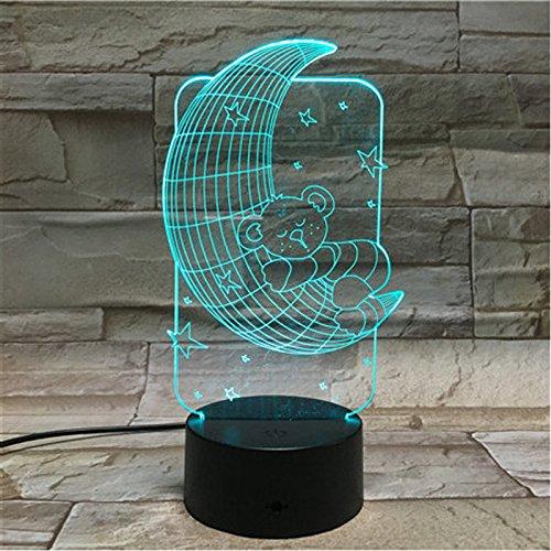 3D Beertje nachtlampje, 7 kleuren, tafellamp, sfeerlicht, festivaldecoratie, verjaardagscadeau voor kinderen en kinderdag