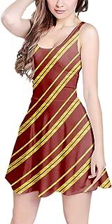 Rainbow Rules Harry Potter Inspired House Stripes Sleeveless Flared Skater Dress