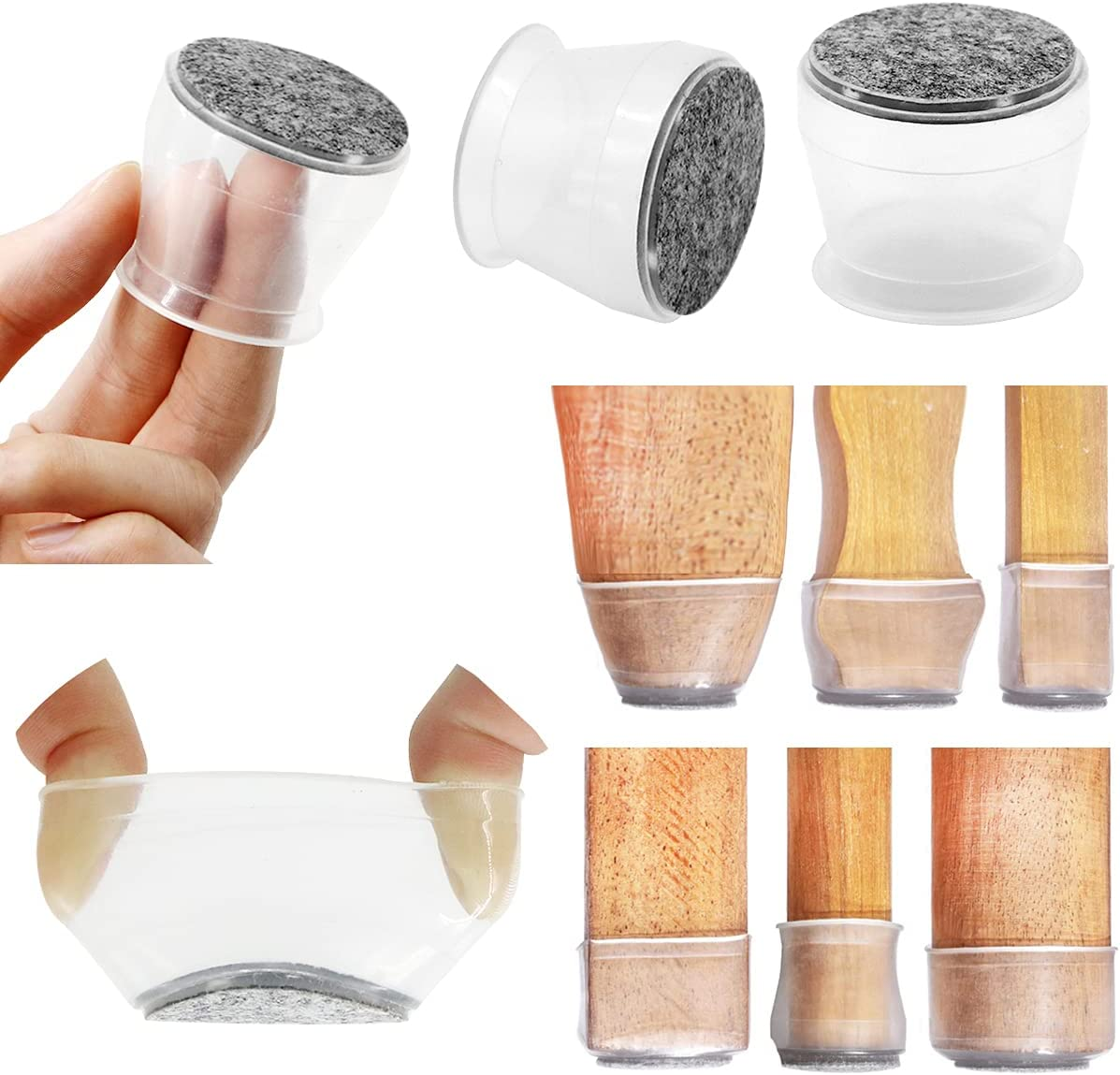 24PCS/Chair Leg Floor Protectors,Silicone Furniture Feet Protector Pads,Table feet Covers,Stool Leg Protection Caps,Furniture Cup with Felt Pads.Protect Hardwood & Laminate Flooring