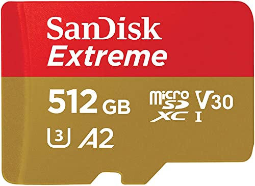 SanDisk 512GB Extreme microSDXC UHS-I Memory Card with Adapter - Up to 160MB/s C10 U3 V30 4K A2 Micro SD - SDSQXA1-512G-GN6MA