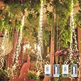 2 Pack 180 LED Firefly Bunch Lights Battery Operated, 8 Flashing Modes Waterproof Copper Wire Waterfall Lights, Remote Controlled Timer and Hooks, Fairy Lights for Indoor Outdoor Decor (Warm White)