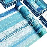 Washi Tape Set of 12 Rolls,Blue Sea Wave Decorative Washi Masking Tape Sets for...