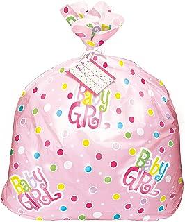 Jumbo Plastic Pink Polka Dot Girl Baby Shower Gift Bag