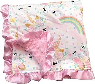 Aki_Dress Unicorn Kids Blanket Soft Minky Double Layer Baby Blankie 31