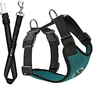 Slowton Dog Car Harness Plus Connector Strap, Multifunction Adjustable Vest Harness Double Breathable Mesh Fabric Car Vehi...