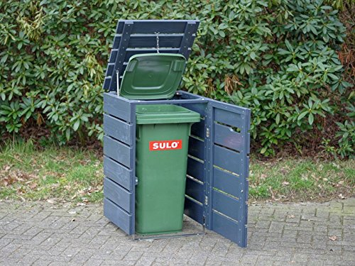 1er Mülltonnenbox 120 L Holz, Deckend Geölt Anthrazit Grau - 3