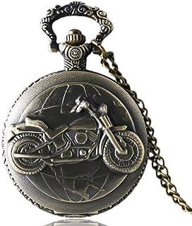 FGDSA Reloj de Bolsillo, Bronce Antiguo, Motocicleta, Moto, Reloj de Bolsillo, Collar, Colgante, Regalo para Hombres