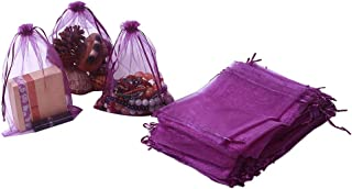 HRX Package 100pcs Organza Bags 6.5 x 8.9 inches, Purple Large Mesh Gift Drawstring Bags for Christmas Wedding Shower Party Favors Jewelry Samples