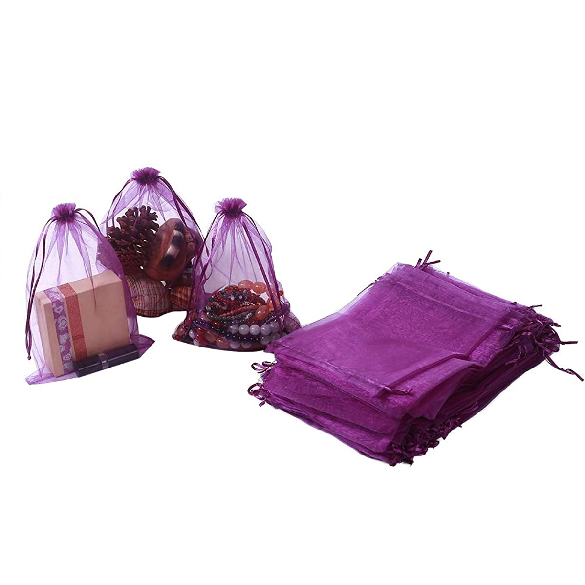 """HRX Package 100pcs Organza Bags 6.5"""" x 8.9"""", Purple Large Mesh Gift Drawstring Bags for Christmas Wedding Shower Party Favors Jewelry Samples"""