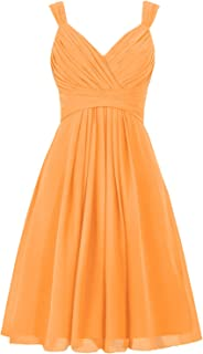 Women's V Neck Straps Chiffon Bridesmaid Dress Short Pleated Prom Gown