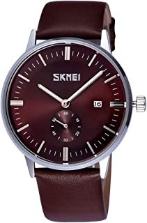 Songlin@yuan Simple Nail Scale Round Dial Small Function Second Dial Calendar Display Men Sport Quartz Watch with Genuine Leather Band Fashion (Color : Brown)