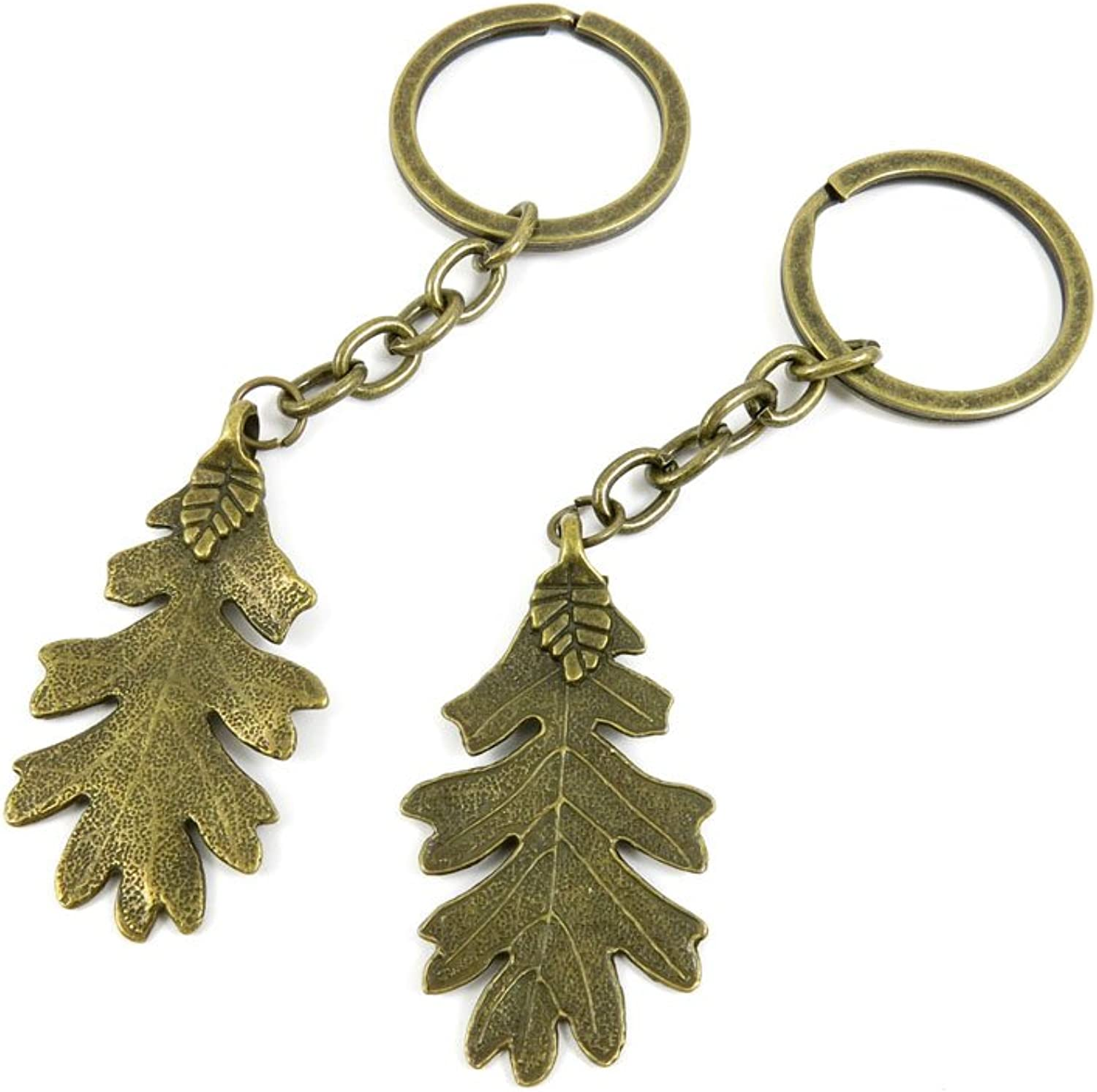 100 PCS Keyrings Keychains Key Ring Chains Tags Jewelry Findings Clasps Buckles Supplies P1MW4 Leaf Leaves