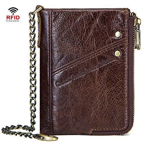GHYDDC Rfid portemonnee voor heren, klassieke multi-kaart vouwen Rfid portemonnee - dubbele rits muntportemonnee - met anti-diefstal ketting doos verpakking Brons