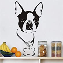 Vinyl Removable Wall Stickers Mural Decal Art Family Decals Cute Boston Terrier Wall Sticker Animal Home Decor Dog Head