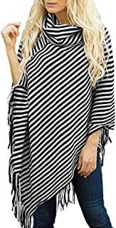 Women's Poncho Cape Cowl Neck Tassel Fringe Loose Fit Pullover Sweater Tops