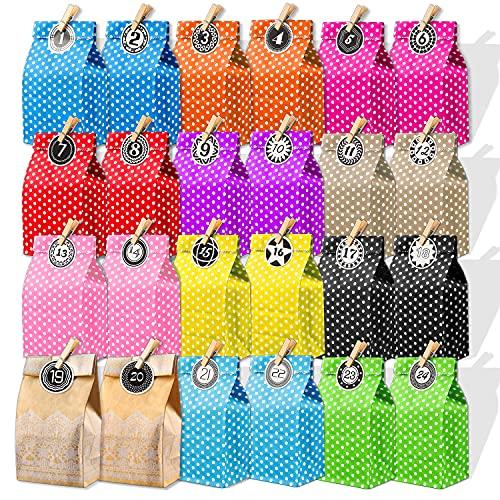 Bolsa de Papel, Bolsas de Regalo Kraft, Colores Bolsas para Chuches,24 Calendario...