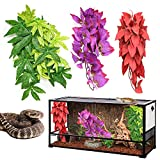 HYLYUN Reptile Plants 3 Packs - Hanging Silk Terrarium Plant with Suction Cup for Bearded Dragons Lizards Geckos Snake Tank Decorations