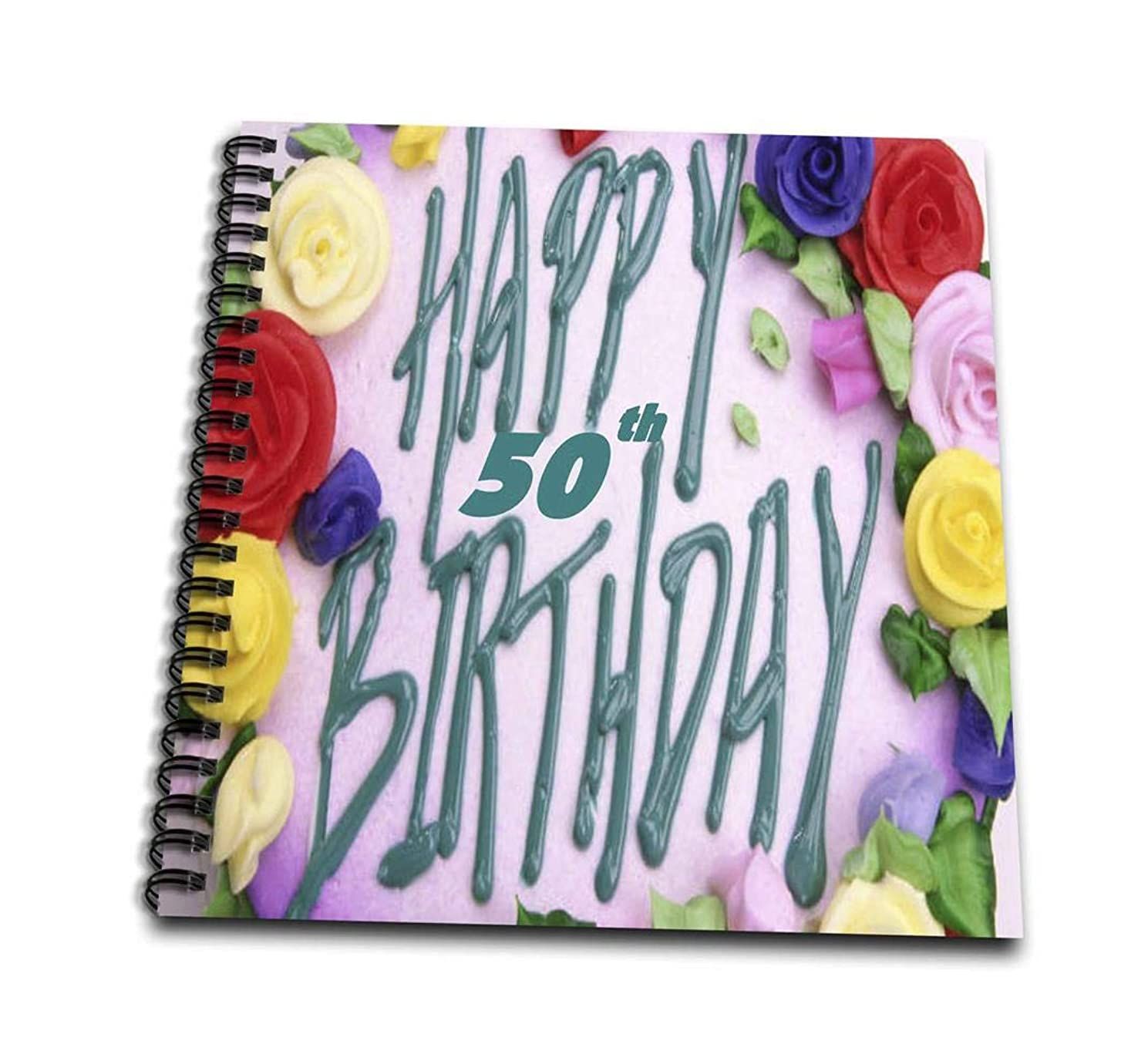 3dRose db_52359_1 Happy 50Th Birthday Png-Drawing Book, 8 by 8-Inch
