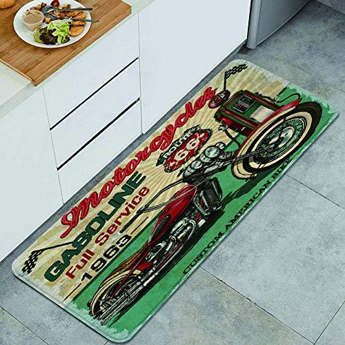 YOLIKA Anti Fatiga Cocina Alfombra del Piso,Vintage Gasolina Ruta 66 Cartel Motos clásicas,Antideslizante Acolchado Puerta Habitación Bañera Alfombra Almohadilla,120 x 45cm