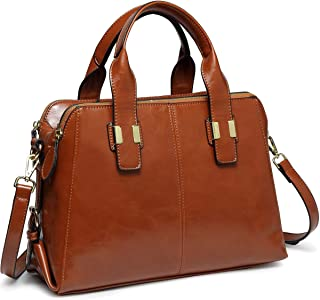 Handbags for Women, VASCHY Faux Patent Leather Top Handle Satchel Bag Work Tote Purse with Triple Compartments