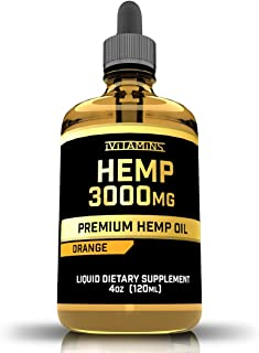 iVitamins Hemp Oil Drops :: 3,000mg 4 fl oz :: Hemp Extract :: May Help with Pain, Anxiety, Inflammation, Joints, Sleep, Mood and More :: Rich in Omega 3,6,9 :: (Orange)