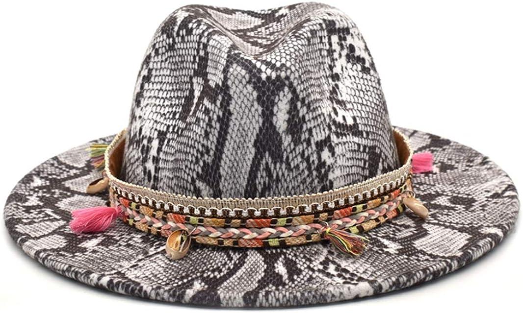 Classic Women Fedoras Snake Print Wide Brim Sexy Chic Fedora Hats Autumn Winter Jazz Hats Vintage Panama Cap