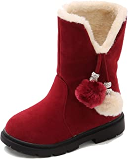BININBOX Kids Winter Warm Martin Boots Cotton Leather Snow Boots for Girls Boys