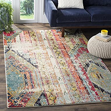 Safavieh Monaco Collection MNC222F Modern Bohemian Multicolored Distressed Square Area Rug (6'7 Square)