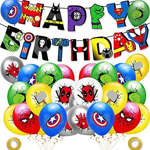 Globos de Los Vengadores, PAWT, decoración para fiestas de superhéroes, cumpleaños, globos, globos de látex, decoración de cumpleaños de superhéroes, banderines para niños, cumpleaños