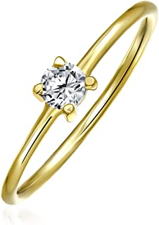 Delicate Geometric Solitare Cubic Zirconia Circle Gold Plated Sterling Silver Midi Stackable Ring 1MM Band For Teen