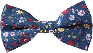Men Panegy Vintage Flower Print Cotton Bow Tie Adjustable Length Flower Fly Casual Bow Tie Men's Bow Tie for Wedding Party (Choice of Colours)