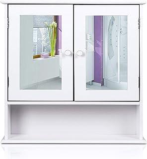 HOMFA Bathroom Wall Cabinet Multipurpose Kitchen Medicine Storage Organizer with Mirror Double Doors Shelves,White Finish