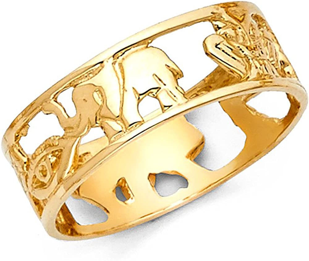Solid 14k Yellow Gold Good Luck Symbols Ring Lucky Charm Band Open Design Polished Genuine 6MM