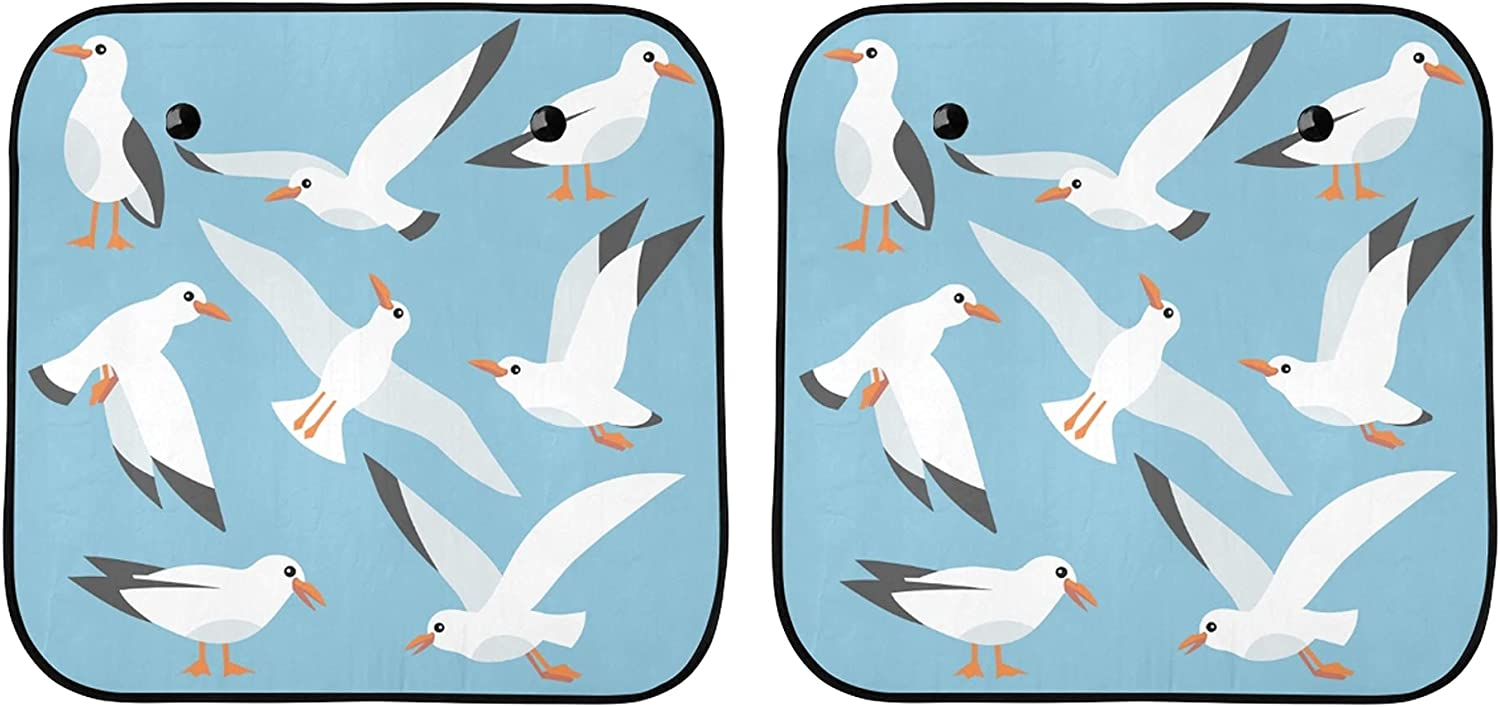 YPink Fees free Our shop OFFers the best service Foldable Sunshade Cover Cute Seagulls C On Cartoon Sea The
