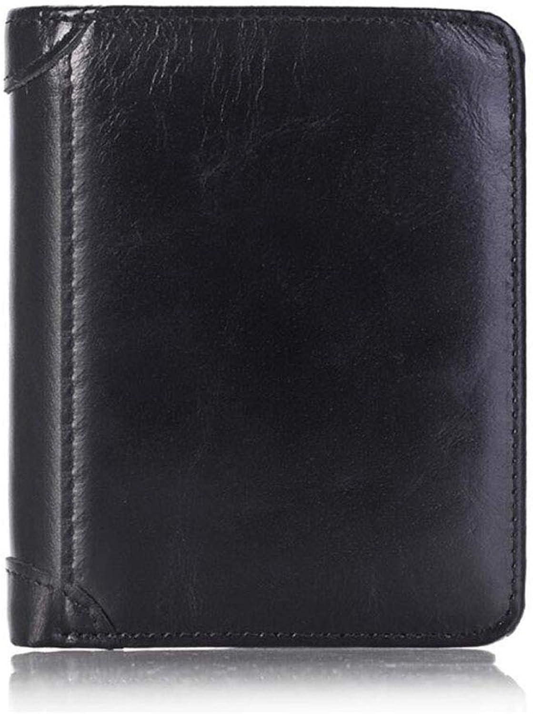 Men's Wallet, Coin Pocket MultiFunction Waterproof Leather Business Wallet Casual Fashion Slim Wallet Pocket Wallet,D,12.5x2x9.5CM