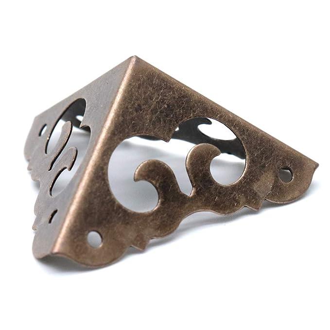 BESPORTBLE 30 Piezas Caja Vintage Protector de Esquina Caja Triangular Soporte de Esquina Borde del Armario Parachoques de Seguridad Muebles Decorativos Protector de Esquina con 120 Piezas