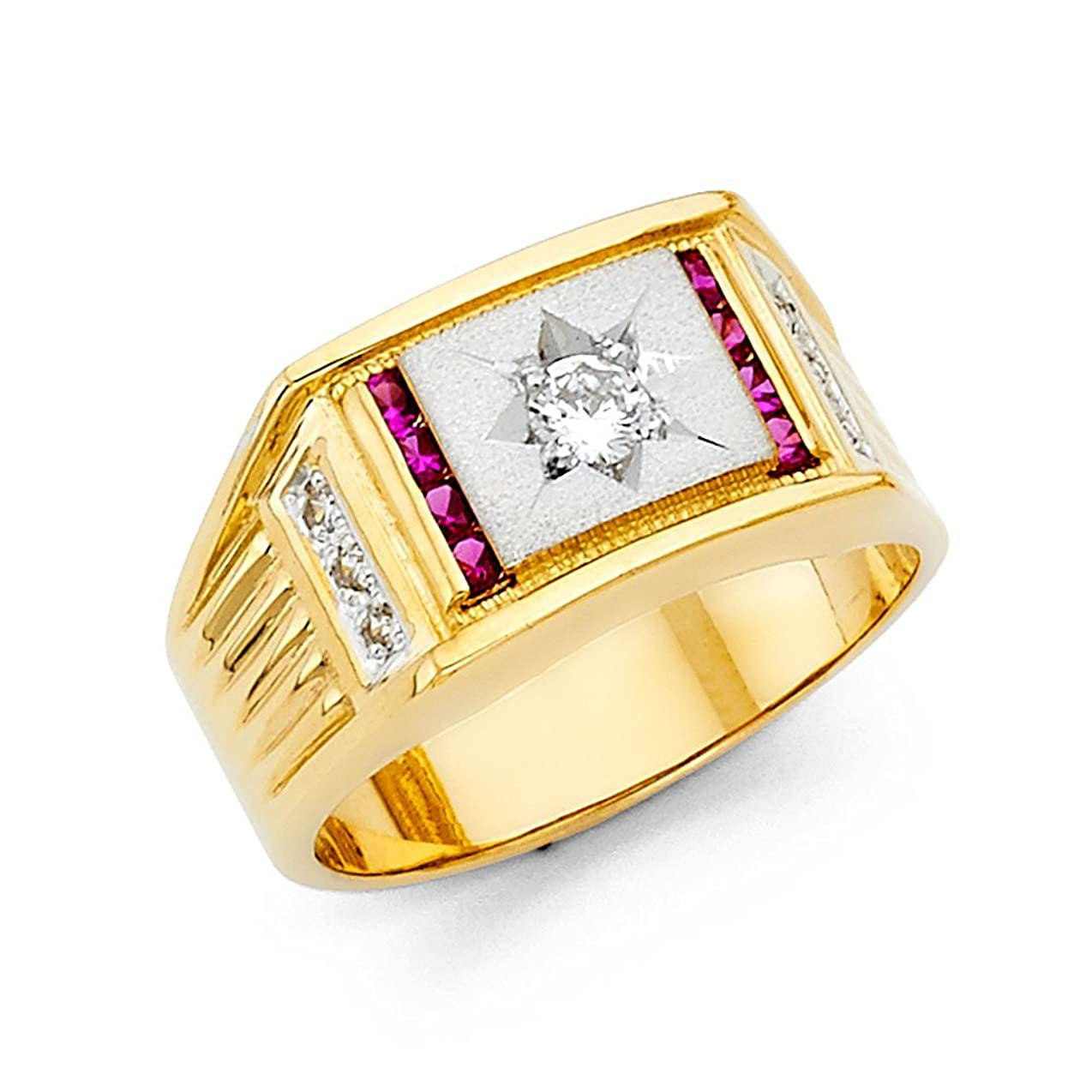 追記グラマー鼻Jewels By Lux メンズ 14KイエローゴールドキュービックジルコニアCZファッション周年記念リングW / Rubyのサイズ イエローゴールド 11