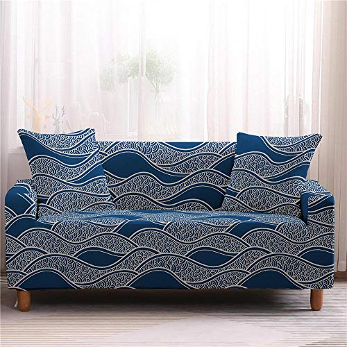 Funda elástica para sofá de 1/2/3/4 plazas, antideslizante, funda elástica a rayas, funda para sofá seccional, elástica, 4 plazas, color 3