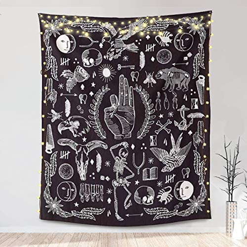 Jeteven Wall Hanging Tapestry, Black Gothic Bohemian Tapestry Home Decor for Bedroom Aesthetic, Wall Décor Living Room Dorm Decor, Beach Towels Picnic Mat (65''x58 inch/165x148cm)