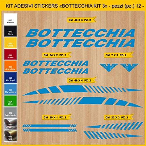 Pimastickerslab Aufkleber Fahrrad BOTTECCHIA_ KIT 3 Kit Aufkleber Stickers 12 Stück – bici Bike Cycle wählbar Cod.0848 (053 BLU LEGGERO)