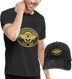 Design Kawasaki Vulcan Spain Motorcycles Club Logo T-Shirt with Hats for Man 100% Cotton O-Neck Black