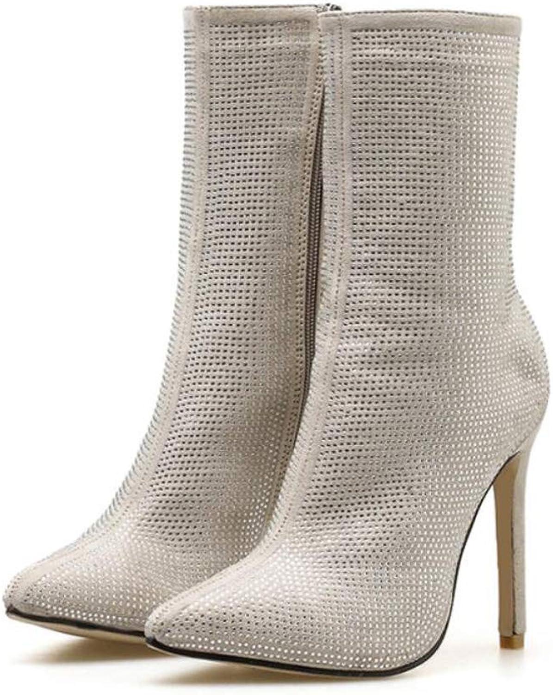 DANDANJIE Damenstiefel Spitzen Zehen Rhinestone High High High Heel Nackte Stiefelmode Sexy Stiefelies  7c881d