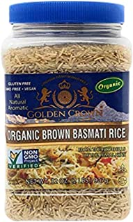 Golden Crown Organic Brown Basmati Rice - Non GMO, Gluten Free, Vegan Natural Aromatic Naturally Aged Long ...